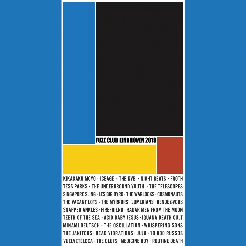 Il poster stile Bauhaus di Fuzz Club Eindhoven 2019