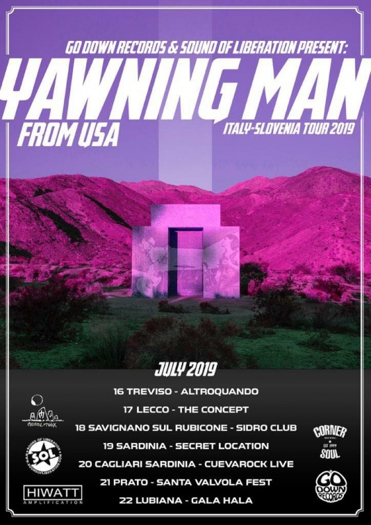 Il poster degli Yawning Man in Italia nell'estate 2019